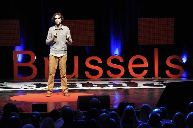 Matt Dobson at TEDxBrussels. Photo copyright: TEDxBrussels