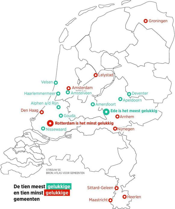 This map shows cities ranked 1-10 (in turquoise) and 41-50 (in red) in the Atlas of Municipalities. Source: Trouw, based on data of the Atlas. https://www.trouw.nl/home/het-geluk-is-te-vinden-in-een-middelgrote-stad-ede~aeb4553a/