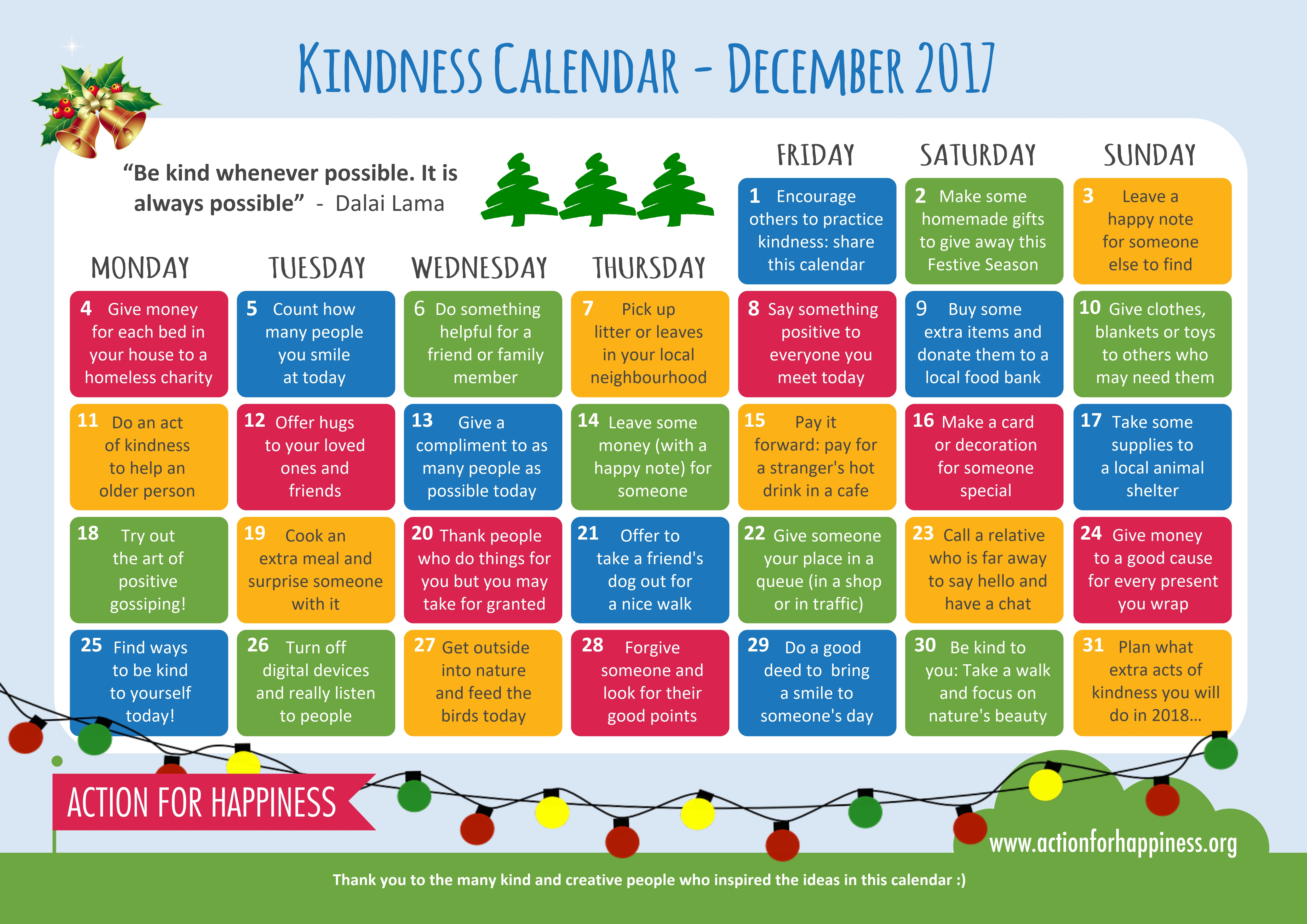 Action for Happiness' Kindness Calendar. Found on http://www.actionforhappiness.org/kindness-calendar