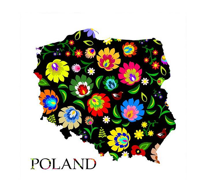 Map of Poland filled with traditional folk pattern. Found on dekowizja.pl.