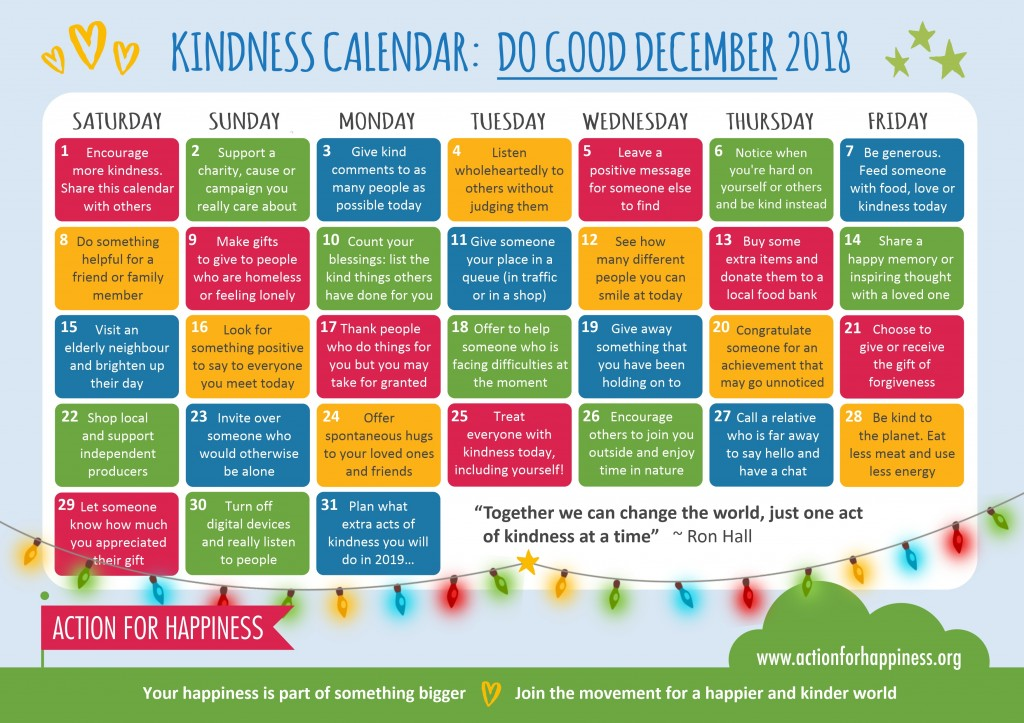 Action for Happiness' Do Good December Calendar (click to enlarge). Found on http://www.actionforhappiness.org/do-good-december
